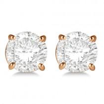 1.00ct. 4-Prong Basket Diamond Stud Earrings 18kt Rose Gold (H, SI1-SI2)