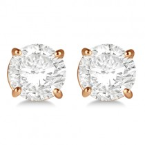 1.00ct. 4-Prong Basket Lab Grown Diamond Stud Earrings 18kt Rose Gold (H, SI1-SI2)