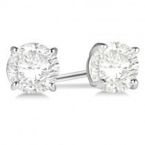 2.00ct. 4-Prong Basket Diamond Stud Earrings Palladium (H, SI1-SI2)