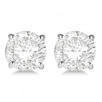 0.50ct. 4-Prong Basket Diamond Stud Earrings Palladium (H, SI1-SI2)