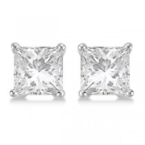 4.00ct. Princess Diamond Stud Earrings 18kt White Gold (H, SI1-SI2)