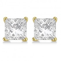 1.00ct. Princess Lab Grown Diamond Stud Earrings 18kt Yellow Gold (H, SI1-SI2)