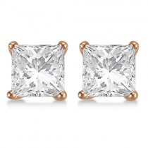 3.00ct. Princess Diamond Stud Earrings 14kt Rose Gold (G-H, VS2-SI1)