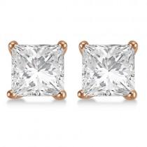 1.00ct. Princess Moissanite Stud Earrings 14kt Rose Gold (F-G, VVS1)