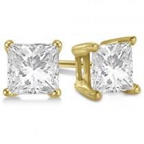 2.00ct. Princess Moissanite Stud Earrings 14kt Yellow Gold (F-G, VVS1)