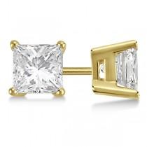 3.00ct. Princess Moissanite Stud Earrings 14kt Yellow Gold (F-G, VVS1)