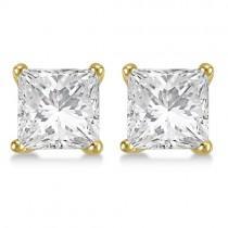 4.00ct. Princess Moissanite Stud Earrings 14kt Yellow Gold (F-G, VVS1)