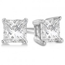 1.00ct. Princess Moissanite Stud Earrings Platinum (F-G, VVS1)