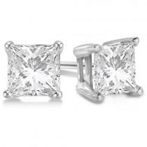 0.75ct. Princess Moissanite Stud Earrings Platinum (F-G, VVS1)