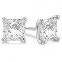 1.00ct. Martini Princess Diamond Stud Earrings 14kt White Gold (H-I, SI2-SI3)