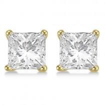 4.00ct. Martini Princess Diamond Stud Earrings 18kt Yellow Gold (H-I, SI2-SI3)