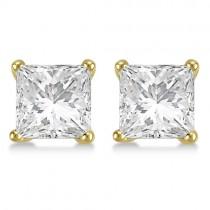 1.00ct. Martini Princess Lab Grown Diamond Stud Earrings 14kt Yellow Gold (H-I, SI2-SI3)