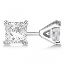 4.00ct. Martini Princess Diamond Stud Earrings Palladium (H-I, SI2-SI3)
