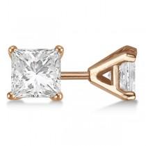 3.00ct. Martini Princess Diamond Stud Earrings 18kt Rose Gold (H, SI1-SI2)