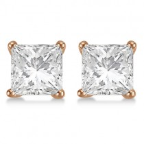 3.00ct. Martini Princess Lab Grown Diamond Stud Earrings 14kt Rose Gold (H, SI1-SI2)