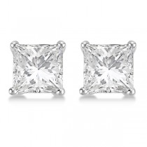 4.00ct. Martini Princess Diamond Stud Earrings Platinum (H, SI1-SI2)