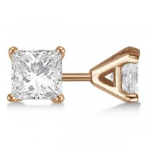 1.00ct. Martini Princess Diamond Stud Earrings 14kt Rose Gold (G-H, VS2-SI1)