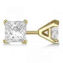 1.00ct. Martini Princess Diamond Stud Earrings 14kt Yellow Gold (G-H, VS2-SI1)