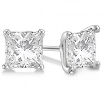 3.00ct. Martini Princess Diamond Stud Earrings 18kt White Gold (G-H, VS2-SI1)