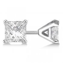 0.50ct. Martini Princess Diamond Stud Earrings 18kt White Gold (G-H, VS2-SI1)