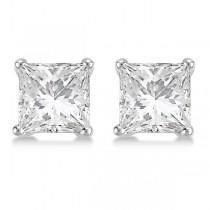 3.00ct. Martini Princess Diamond Stud Earrings Platinum (G-H, VS2-SI1)