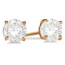 1.00ct. 4-Prong Basket Moissanite Stud Earrings 14kt Rose Gold (F-G, VVS1)