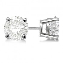 0.75ct. 4-Prong Basket Moissanite Stud Earrings 14kt White Gold (F-G, VVS1)