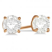 1.00ct. 4-Prong Basket Moissanite Stud Earrings 18kt Rose Gold (F-G, VVS1)