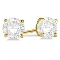 1.00ct. 4-Prong Basket Moissanite Stud Earrings 18kt Yellow Gold (F-G, VVS1)