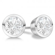 1.00ct. Bezel Set Diamond Stud Earrings 18kt White Gold (H-I, SI2-SI3)