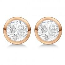4.00ct. Bezel Set Lab Grown Diamond Stud Earrings 14kt Rose Gold (H-I, SI2-SI3)