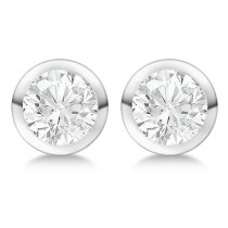 0.75ct. Bezel Set Lab Grown Diamond Stud Earrings 14kt White Gold (H-I, SI2-SI3)