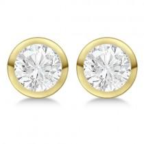 3.00ct. Bezel Set Lab Grown Diamond Stud Earrings 14kt Yellow Gold (H-I, SI2-SI3)