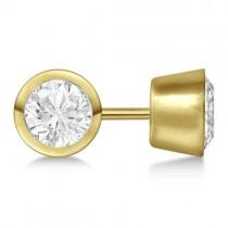 0.75ct. Bezel Set Diamond Stud Earrings 14kt Yellow Gold (H, SI1-SI2)
