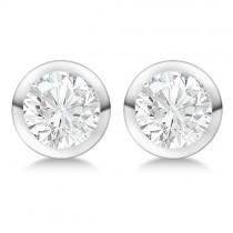 1.00ct. Bezel Set Lab Grown Diamond Stud Earrings 18kt White Gold (H, SI1-SI2)