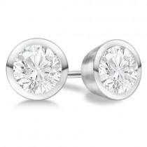 2.00ct. Bezel Set Lab Grown Diamond Stud Earrings 18kt White Gold (H, SI1-SI2)