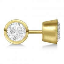 0.75ct. Bezel Set Lab Grown Diamond Stud Earrings 18kt Yellow Gold (H, SI1-SI2)