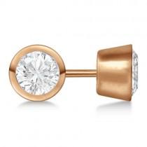 0.75ct. Bezel Set Diamond Stud Earrings 18kt Rose Gold (G-H, VS2-SI1)