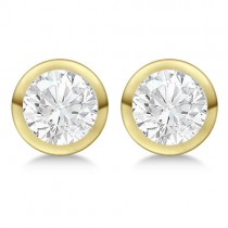 0.75ct. Bezel Set Diamond Stud Earrings 18kt Yellow Gold (G-H, VS2-SI1)