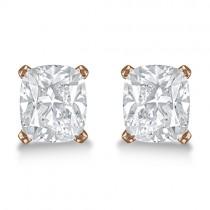 0.75ct. Cushion-Cut Moissanite Stud Earrings 14kt Rose Gold (F-G, VVS1)