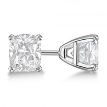 0.50ct. Cushion-Cut Moissanite Stud Earrings 14kt White Gold (F-G, VVS1)
