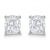 0.75ct. Cushion-Cut Moissanite Stud Earrings 14kt White Gold (F-G, VVS1)