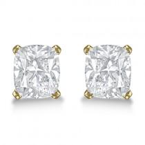 1.00ct. Cushion-Cut Moissanite Stud Earrings 14kt Yellow Gold (F-G, VVS1)
