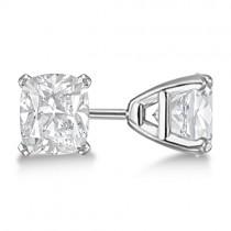 1.50ct. Cushion-Cut Moissanite Stud Earrings 18kt White Gold (F-G, VVS1)