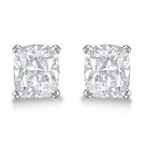 2.00ct. Cushion-Cut Moissanite Stud Earrings Platinum (F-G, VVS1)