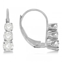 Three-Stone Leverback Diamond Earrings 14k White Gold (0.24ct)