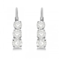 Three-Stone Leverback Diamond Earrings 14k White Gold (0.24ct)|escape