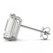 2.00ct Emerald-Cut Diamond Stud Earrings 14kt White Gold (G-H, VS2-SI1)