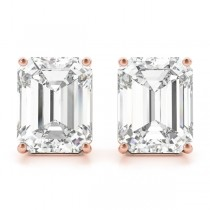 1.50ct Emerald-Cut Lab Grown Diamond Stud Earrings 14kt Rose Gold (G-H, VS2-SI1)