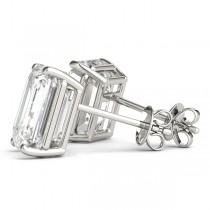 2.00ct Emerald-Cut Lab Grown Diamond Stud Earrings 14kt White Gold (G-H, VS2-SI1)